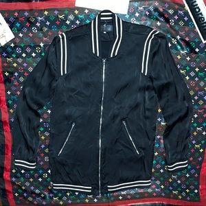 blanknyc black white bomber varsity stripes style